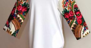 Rochie alba cu maneci din basma traditionala
