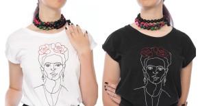 """Tricou """"Frida"""" cu broderie in 2 culori"""